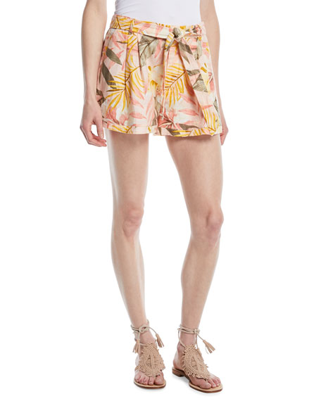 Joie Jaklynn Leaf-Print Pleated Linen Shorts