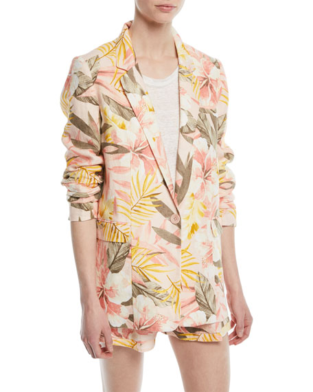 Joie Kishina Printed One-Button Linen Blazer