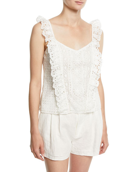 Captina Sleeveless Eyelet Top