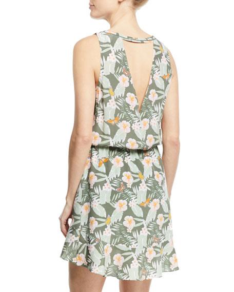 Sabera Silk Floral-Print Blouson Dress