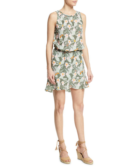 Sabera Silk Floral-Print Blouson Dress