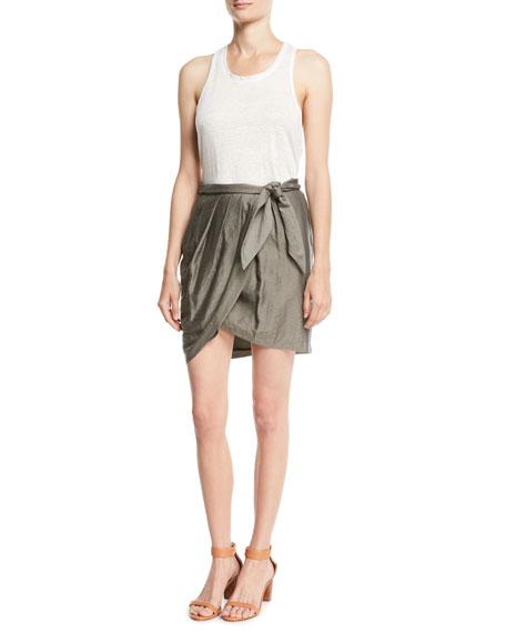 Erlecia Self-Tie Wrap Mini Skirt