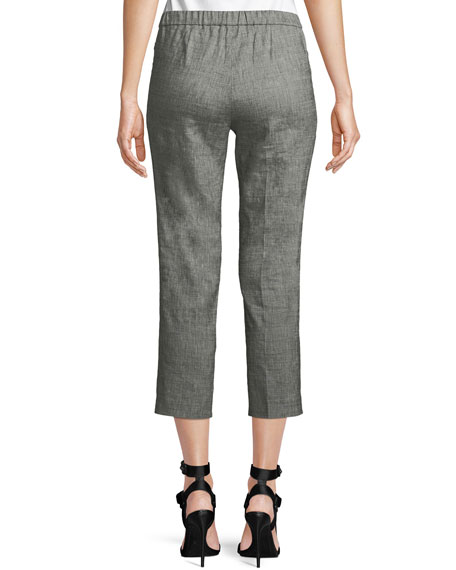 Basic Sharkskin Pull-On Cropped Pants
