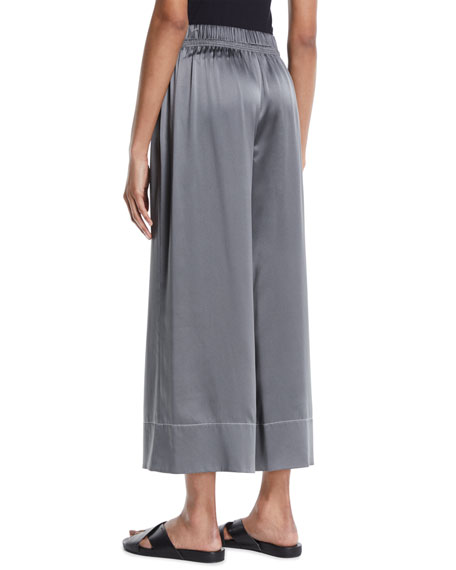 Smocked Silk Pull-On Culotte Pants