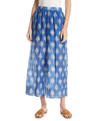 Spot Ikat-Print Wide-Leg Culotte Pants