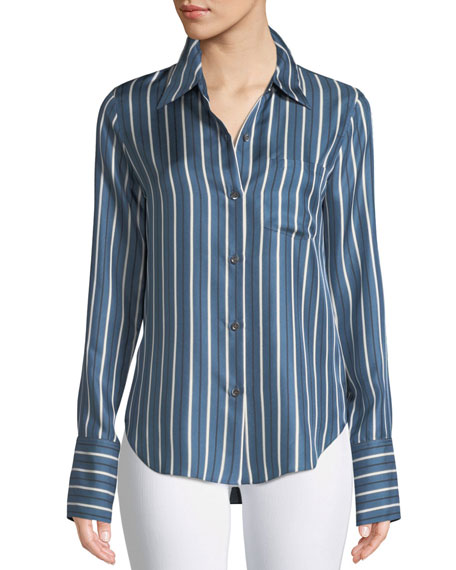 Darby Striped Silk Button-Front Top