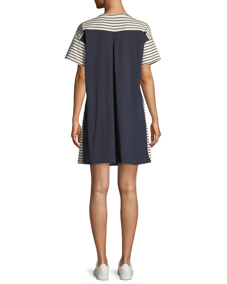 Relaxed Bay Stripe Combo Shift Dress