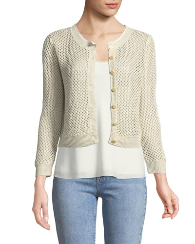 Tamvi New Harbor Open-Weave Linen Cardigan