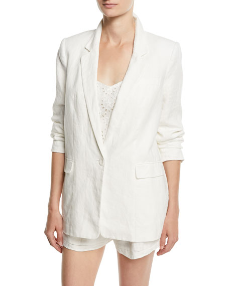 Joie Kishina One-Button Linen Blazer