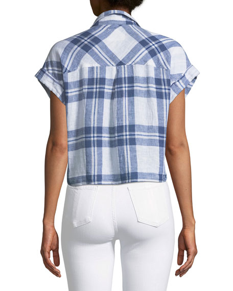 Amelie Plaid Linen Button-Down Top