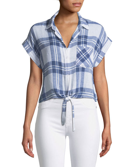 Amelie Plaid Linen Button-Down Top