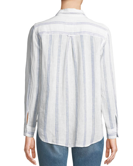 Matea Striped Lace-Up Long-Sleeve Top