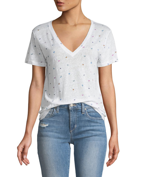 Cara Butterfly-Print V-Neck Tee