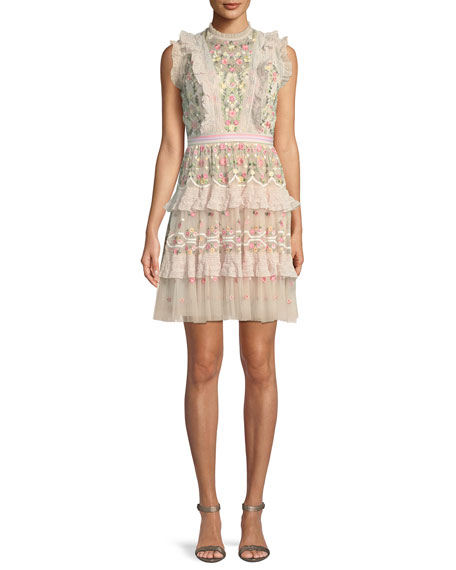 Lattice Rose Embroidered Frill Mini Dress