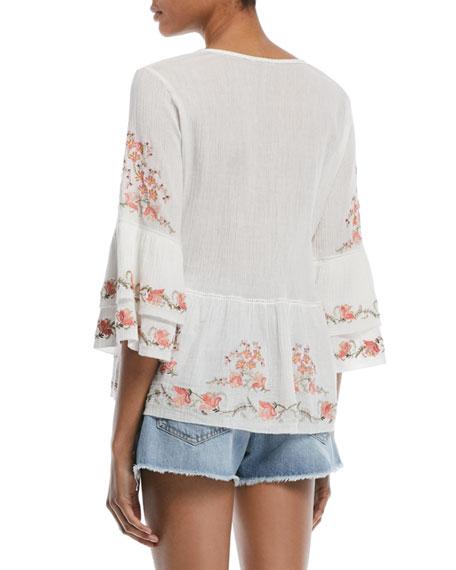 Kamile 3/4-Sleeve Embroidered Blouse