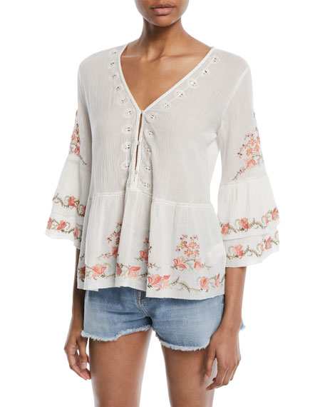 Joie Kamile 3/4-Sleeve Embroidered Blouse