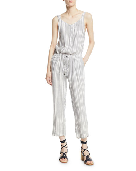 Brooklyn Striped Button-Front Drawstring Jumpsuit, Multi