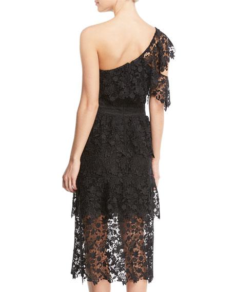Belisa One-Shoulder Lace Midi Dress