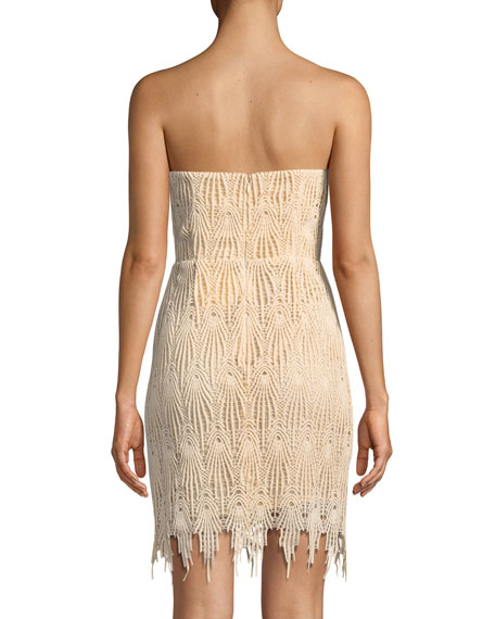 Fringe-Trim Strapless Mini Cocktail Dress