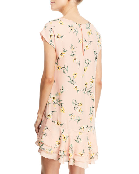 Coreen Round-Neck Floral-Print Silk Shift Dress with Flounce Hem