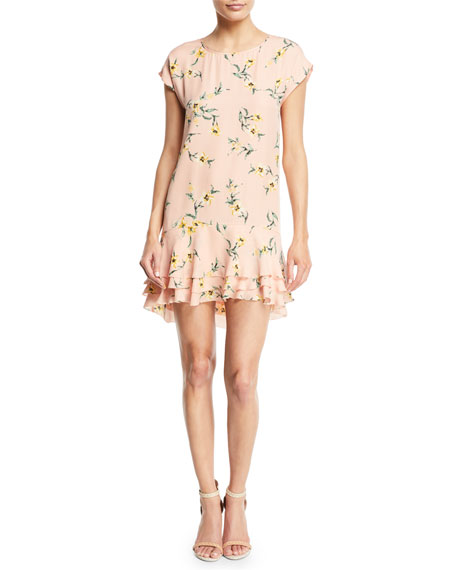 Joie Coreen Round-Neck Floral-Print Silk Shift Dress with