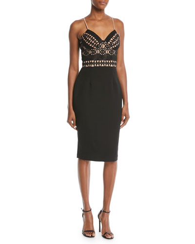Embellished Crisscross Sleeveless Cocktail Dress