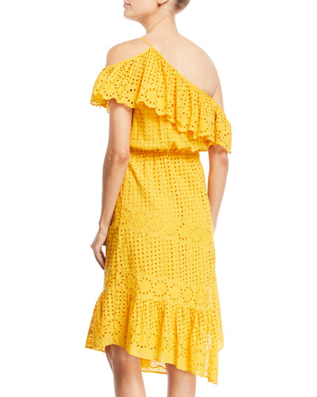Corynn One-Shoulder Eyelet Dress