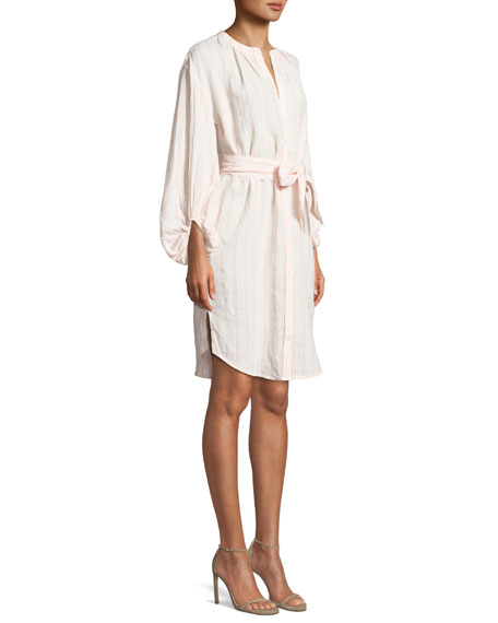 Beatrissa Striped Blouson-Sleeve Shirtdress