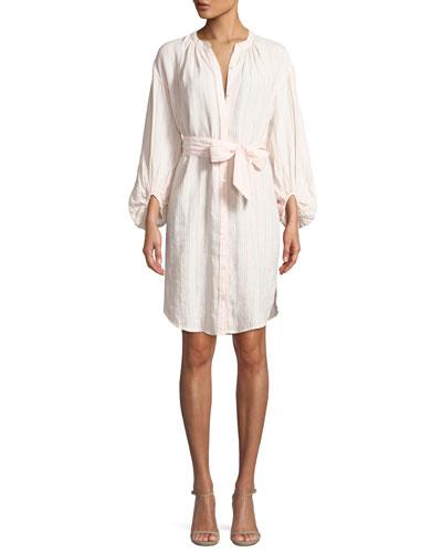Beatrissa Striped Blouson-Sleeve Shirtdress