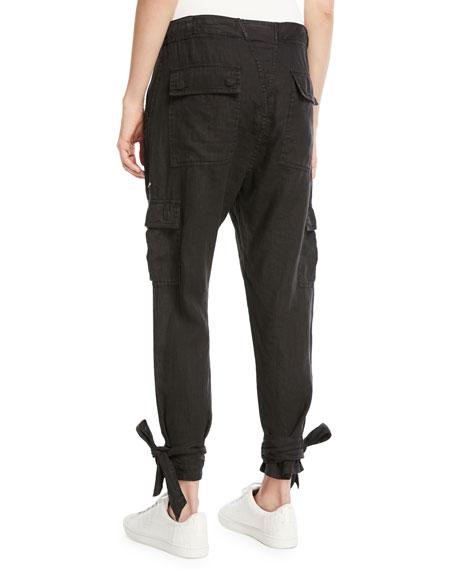 Erlette Cropped Linen Cargo Pants