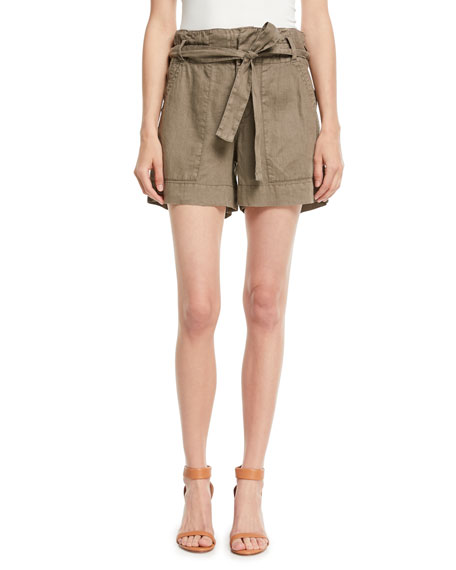 Joie Daynna Belted Linen Cargo Shorts
