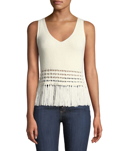 Eliza Sleeveless Fringe-Hem Sweater