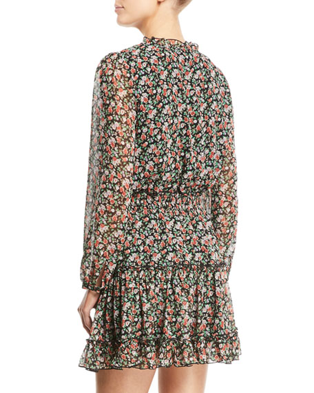 Rosemary Long-Sleeve Floral-Print Dress