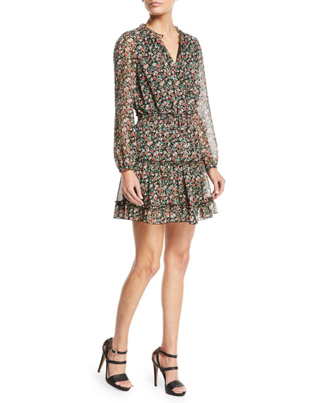 Rebecca Minkoff Rosemary Long-Sleeve Floral-Print Dress