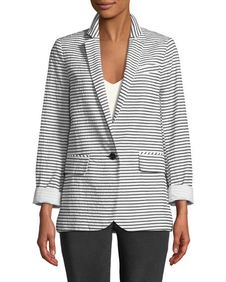 Resort Striped One-Button Jacket