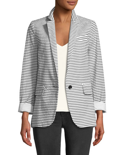 Resort Striped One-Button Jacket