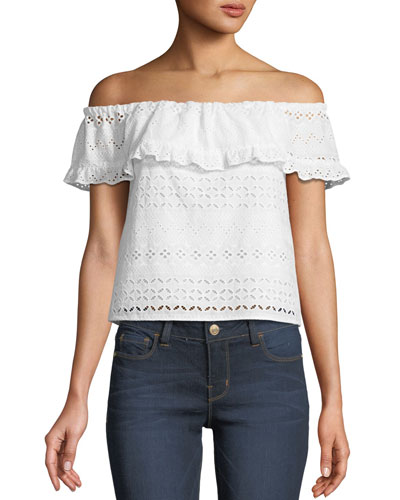 Celestine Off-the-Shoulder Eyelet Top