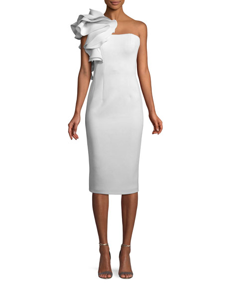 Jovani Marshmallow Ruffle-Shoulder Sheath Cocktail Dress