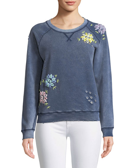 Distressed Crewneck Sweatshirt with Floral Embroidery