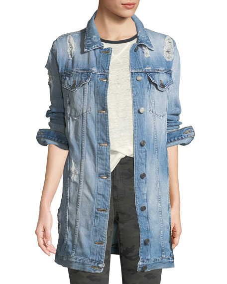 Long Distressed Denim Jacket