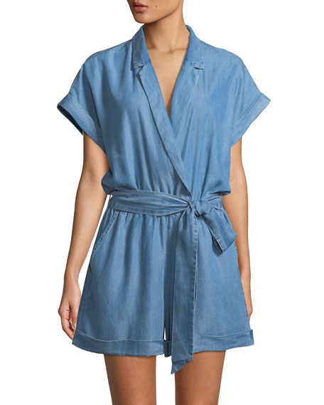 ETIENNE MARCEL Denim Short-Sleeve Romper in Light Blue