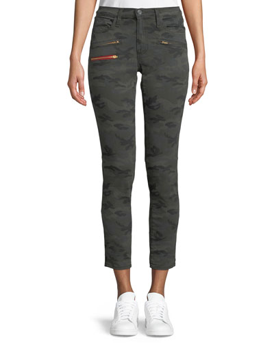 Camo-Print Cropped Skinny-Leg Jeans