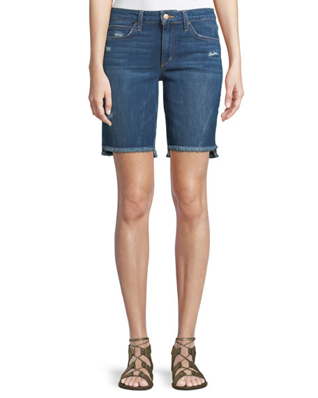 Finn Raw-Edge Denim Bermuda Shorts
