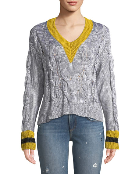 Emma Cropped V-Neck Sweater