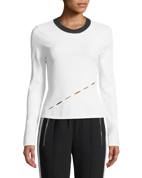 Eden Long-Sleeve Crewneck Top with Slit Details