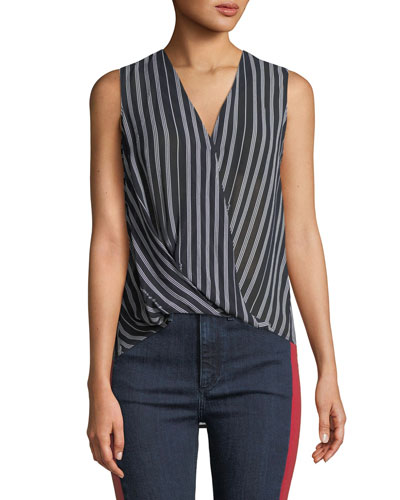 Victor Sleeveless Surplice Striped Blouse