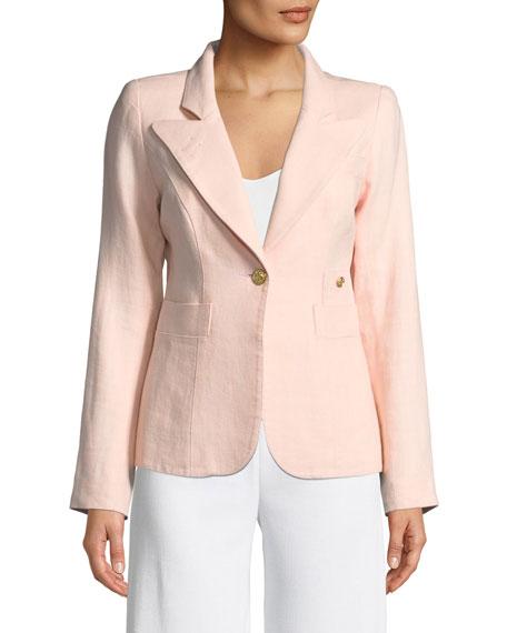 Duchess One-Button Linen Blazer