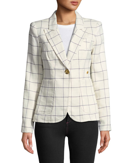 Duchess One-Button Blazer with Leather Elbow Patches