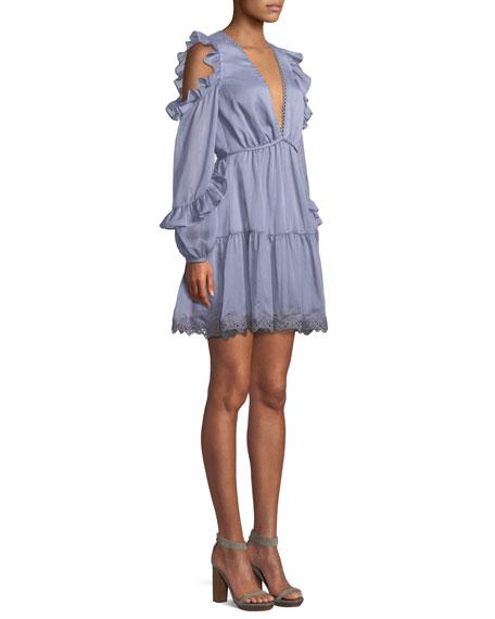 Mesmerize Deep-V Ruffle Mini Dress