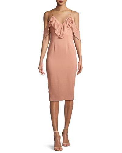 Charm Cold-Shoulder Ruffle Midi Dress